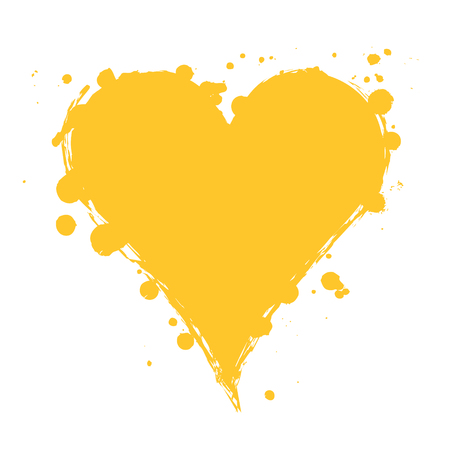 Vector yellow graphic grunge illustration of heart sign with ink blot, brush strokes, drops isolated on the white background. Series of artistic illustration with splash, blots and brush strokes.
