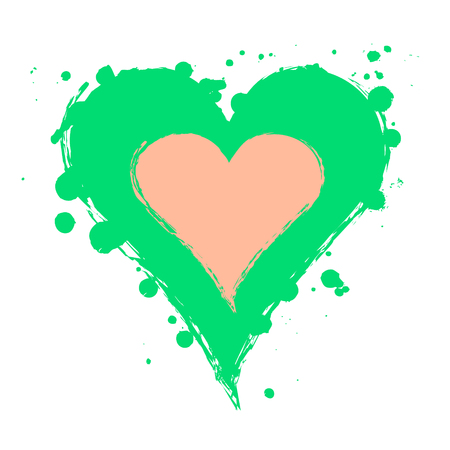Vector green, pink graphic grunge illustration of heart sign with ink blot, brush strokes, drops isolated on the white background. Series of artistic illustration with splash, blots and brush strokes. Illustration