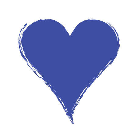 Vector blue graphic grunge illustration of heart sign with ink blot, brush strokes, drops isolated on the white background. Series of artistic illustration with splash, blots and brush strokes.
