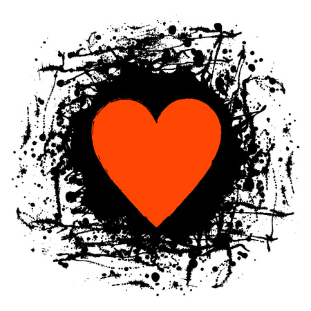 Vector black, red graphic grunge illustration of heart sign with ink blot, brush strokes, drops isolated on the white background. Series of artistic illustration with splash, blots and brush strokes. Illustration