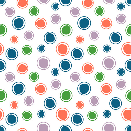 Seamless vector geometrical pattern. Endless background with hand drawn circles. Graphic illustration. Print for cover, fabric, wrapping, background.