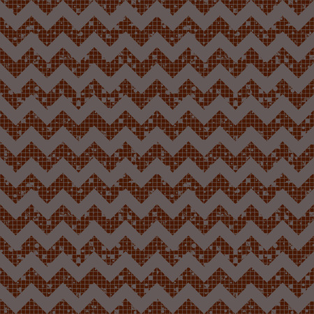 crankle: Seamless vector striped pattern. brown geometric background with zigzag. Grunge texture with attrition, cracks and ambrosia. Old style vintage design. Graphic illustration.