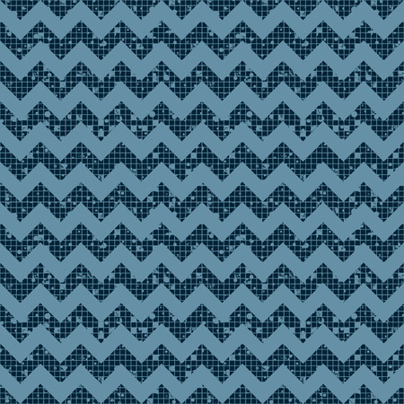 attrition: Seamless vector striped pattern. Blue geometric background with zigzag. Grunge texture with attrition, cracks and ambrosia. Old style vintage design. Graphic illustration.