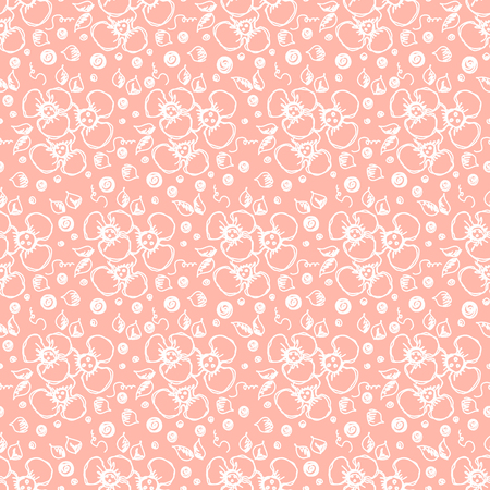Seamless vector hand drawn floral pattern. background with flowers, leaves. Decorative cute graphic line drawing illustration Print for wrapping, background, fabric, decor, textile surface