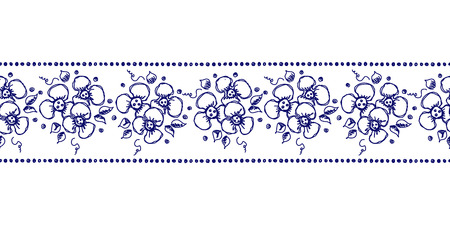 peon: Seamless vector hand drawn floral pattern, endless border frame with flowers, leaves. Decorative cute graphic line drawing illustration. Print for wrapping, background, fabric, decor, textile, surface Illustration