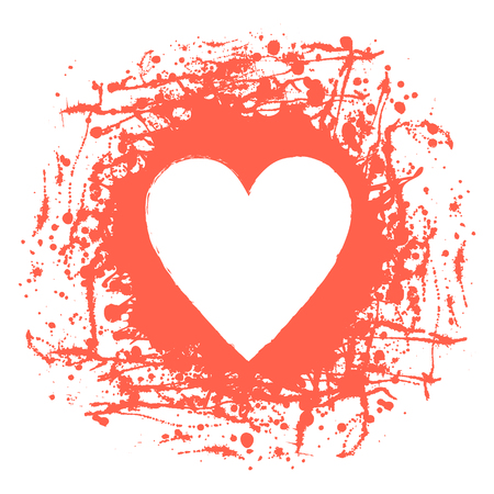 Vector graphic grunge illustration of heart sign with ink blot, brush strokes, drops isolated on the white background. Series of artistic illustration with splash, blots and brush strokes. Illustration