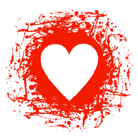 Vector red graphic grunge illustration of heart sign with ink blot, brush strokes, drops isolated on the white background. Series of artistic illustration with splash, blots and brush strokes. Illustration