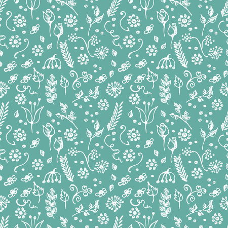 child's: Seamless vector pattern, blue hand drawn background with flowers, branch, leaves, dots. Hand sketch drawing. Doodle funny style. Series of Hand Drawn seamless childish Patterns. Illustration