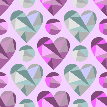 Vector seamless pattern with abstract hearts, background. Polygonal design. Geometric triangular origami style, graphic illustration. Series of Love Seamless Patterns. Print for wrapping, background