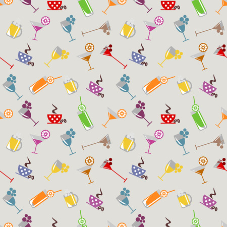 Seamless vector pattern with cocktail, glass, wine glass, beer glass, fruits on the yellow background. Series of Food and Drink Seamless Patterns. Illustration