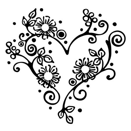brushwood: Vector hand drawn illustration, decorative ornamental stylized heart in shape of tree with branch, flowers, leaves, dots. Black and white isolated graphic outline illustration Line drawing silhouette.