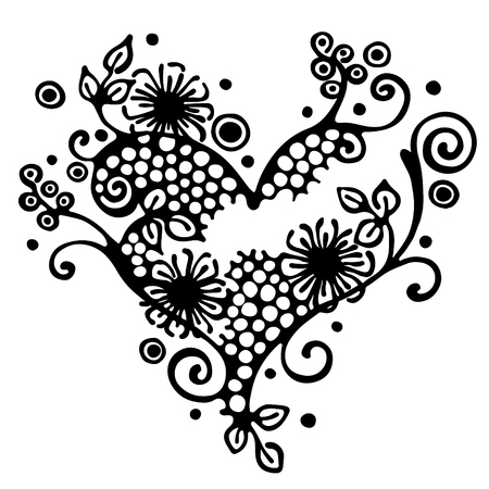 Vector hand drawn illustration, decorative ornamental stylized heart in shape of tree with branch, flowers, leaves, dots. Black and white isolated graphic outline illustration Line drawing silhouette.