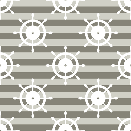 Vector seamless pattern with steering wheel. Symmetrical background, nautical theme. Graphic illustration.Template for wrapping, backgrounds, fabric, prints, decor, surface