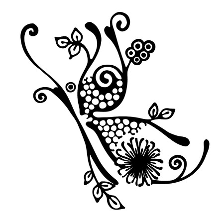 Vector hand drawn illustration, decorative ornamental stylized butterfly in shape of branch with flowers, leaves, dots. Black and white isolated graphic outline illustration Line drawing silhouette.