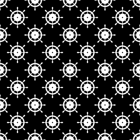 Vector seamless pattern with steering wheel. Symmetrical background, nautical theme. Graphic illustration. Template for wrapping, backgrounds, fabric, prints, decor, surface Black and white Illustration