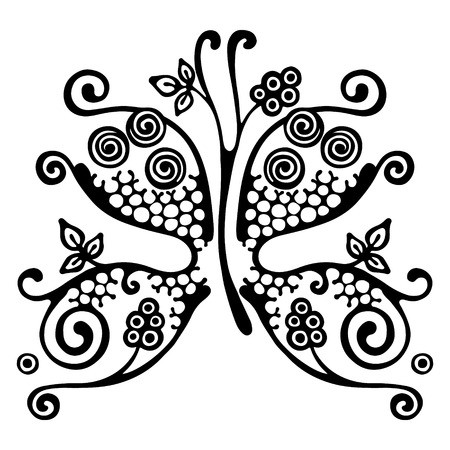 Vector hand drawn illustration, decorative ornamental stylized butterfly in shape of branch with flowers, leaves, dots.