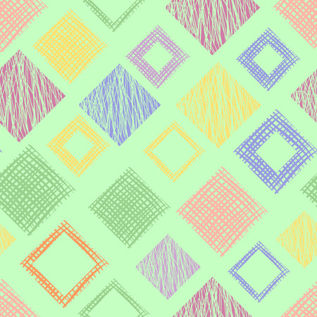 Seamless vector geometrical pattern with rhombus, squares, rectangles endless background with hand drawn textured geometric figures. Illustration