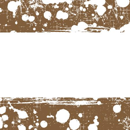 attrition: Vector drawn background. Grunge brown template with splash, spray attrition, cracks. Old style vintage design. Graphic illustration.