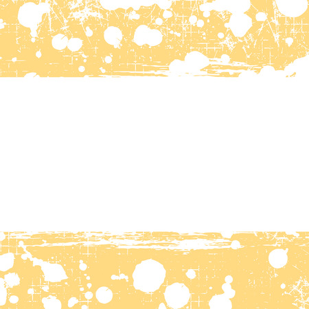 attrition: Vector drawn background. Grunge yellow template with splash, spray attrition, cracks. Old style vintage design. Graphic illustration.