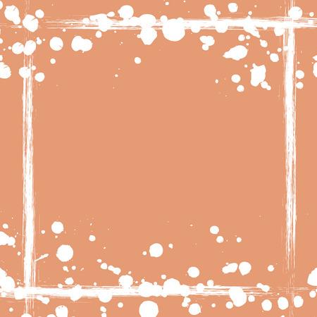 attrition: Vector drawn background with frame, border. Grunge beige template with splash, spray attrition, cracks. Old style vintage design. Graphic illustration.