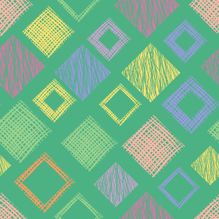Seamless vector geometrical pattern with rhombus, squares, rectangles endless background with hand drawn textured geometric figures. Pastel Graphic illustration Template for wrapping, web backgrounds Illustration