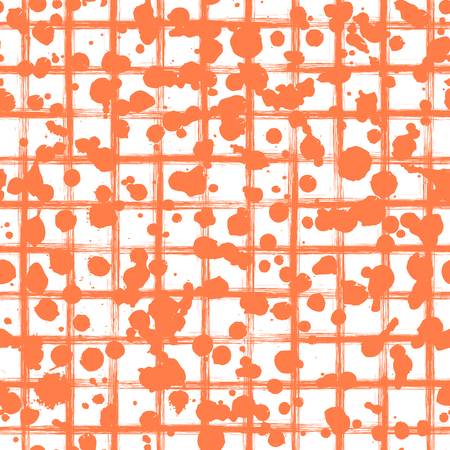 Vector seamless pattern, tile with inc splash, blots, smudge and brush strokes. Grunge red endless template for web background, prints, wallpaper, surface, wrapping, repeat elements for design.