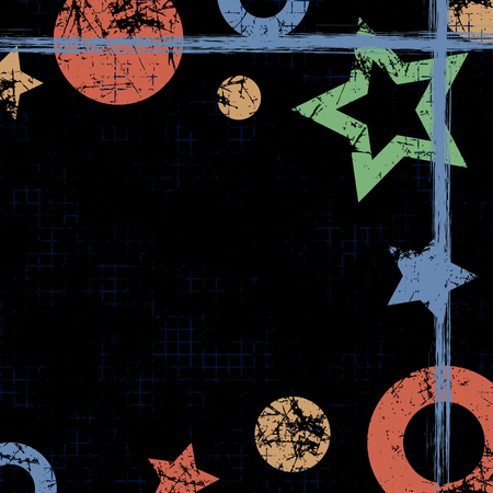 attrition: Vector drawn geometric background with geometrical figures, frame, border. Grunge template with stars, circles, dots Old style vintage design. Graphic illustration with cracks, attrition Square format