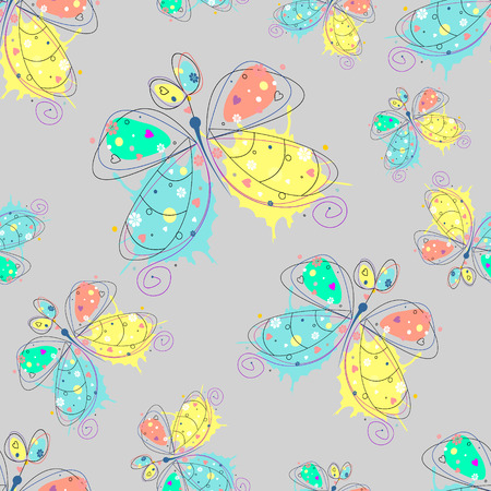 Vector seamless pattern with insect Hand drawn outline decorative endless background with cute drawn butterfly Graphic illustration. Line drawing. Print for wrapping, background, decor