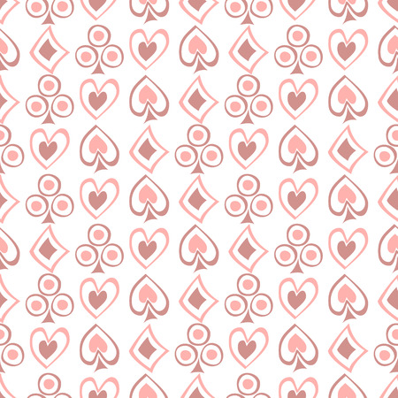 Seamless vector pattern with icons of playings cards. Pink background with hand drawn symbols. Decorative repeat ornament. Series of Gaming and Gambling Seamless vector Patterns.