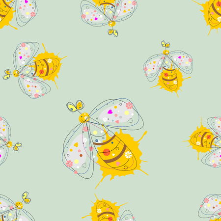Vector seamless pattern with insect Hand drawn outline decorative endless background with cute drawn butterfly, wasp Graphic illustration. Line drawing. Print for wrapping, background, decor