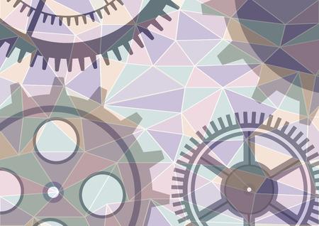 Vector illustration of gear wheel abstract background. Transparent banner with clockwork. Poligonal design. EPS10. Illustration
