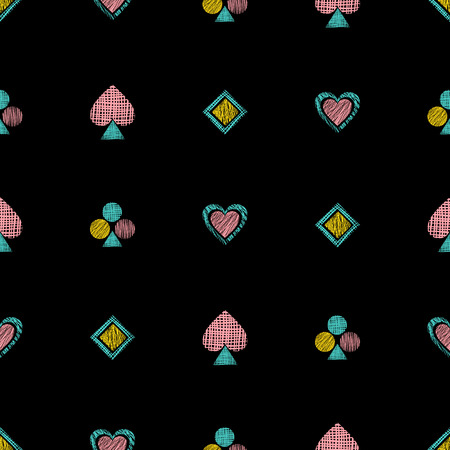 Seamless vector geometrical pattern with icons of playing cards. background with hand drawn textured geometric figures. Pastel Graphic illustration Template for wrapping, web backgrounds, wallpaper