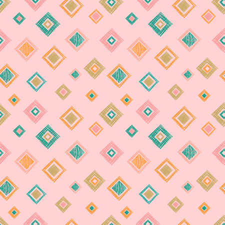 Seamless vector geometrical pattern with rhombus, squares. endless background with hand drawn textured geometric figures. Pastel Graphic illustration Template for wrapping, web backgrounds, wallpaper Illustration