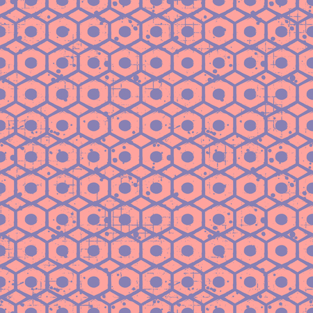 attrition: Seamless vector grunge pattern. Creative geometric background with screw nut. Grunge texture with attrition, cracks and ambrosia. Old style vintage design. Graphic vector illustration. Illustration