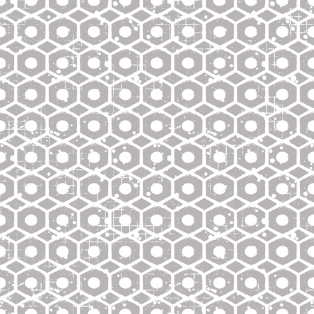Seamless vector grunge pattern. Creative geometric background with screw nut. Grunge texture with attrition, cracks and ambrosia. Old style vintage design. Graphic vector illustration.