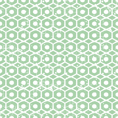 Seamless vector grunge pattern. Creative geometric background with screw nut. Grunge texture with attrition, cracks and ambrosia. Old style vintage design. Graphic vector illustration. Vektoros illusztráció