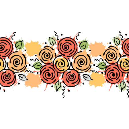 Seamless vector hand drawn floral pattern, endless border Colorful frame with flowers, leaves. Decorative cute graphic line drawing illustration. Print for wrapping, background, fabric, decor, textile