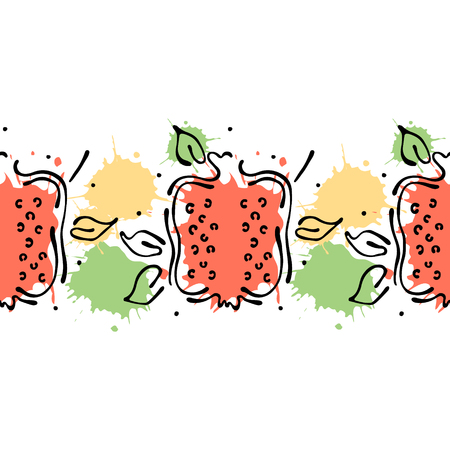 Vector fruits seamless pattern. Decorative border Orange with leaves, decorative elements, blots, drops, splash Hand drawn contour lines and strokes Doodle sketch style, graphic drawing illustration