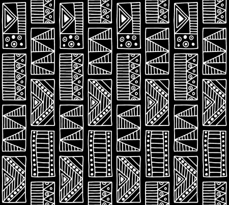 druid: Seamless vector pattern. Black and white geometrical background with hand drawn decorative tribal elements. Print with ethnic, folk, traditional motifs. Graphic vector illustration.