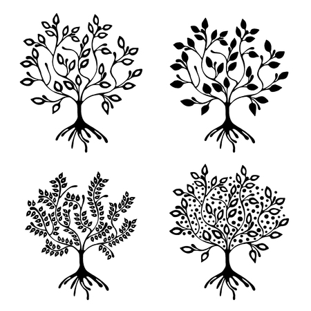 shrubbery: Vector set of hand drawn illustration, decorative ornamental stylized tree. Black and white graphic illustration isolated on the white background. Inc drawing silhouette. Decorative artistic ornamental wood
