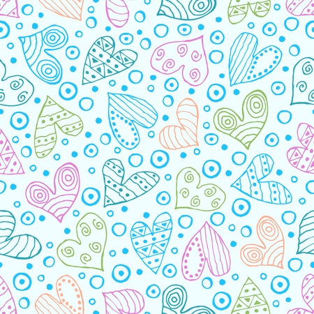 Seamless vector patterns with hearts. Background with hand drawn ornamental symbols and decorative elements. Decorative repeating ornament. Graphic illustration.Series of Love vector Seamless Patterns. Illustration