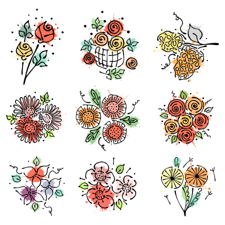 peon: Vector floral set, graphic illustration. Flowers with leaves isolated on the white background. Hand drawn contour lines and strokes with splash, drops, spot. Outline drawing