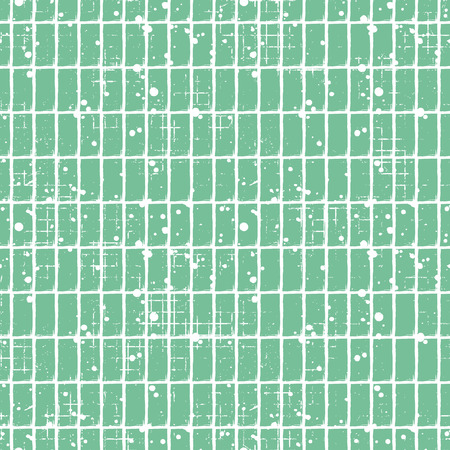 Seamless vector checkered pattern. Creative geometric pastel background with rectangles. Grunge texture with attrition, cracks and ambrosia. Old style vintage design. Graphic illustration.