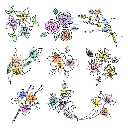 Vector floral set, graphic illustration. Flowers with leaves isolated on the white background. Hand drawn contour lines and strokes with splash, drops, spot. Outline drawing