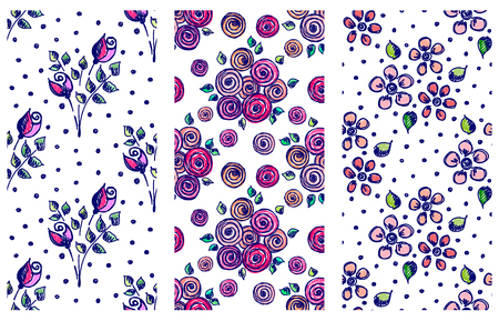 peon: Vector set of seamless floral pattern with flowers, leaves, decorative elements, splash, blots, drop Hand drawn contour lines and strokes Doodle sketch style, graphic vector drawing illustration