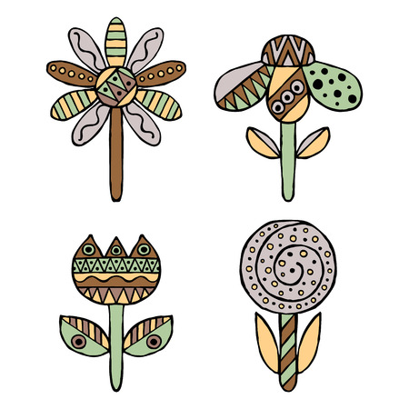 Set of vector hand drawn decorative stylized childish flowers. Doodle style, graphic illustration. Ornamental cute hand drawing in brown, green colors. Series of doodle, cartoon, sketch illustrations. Illustration
