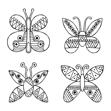 child's: Set of vector hand drawn decorative stylized childish butterflies. Doodle style, graphic illustration. Ornamental cute hand drawing in black, white colors. Series of doodle, cartoon, sketch Illustration