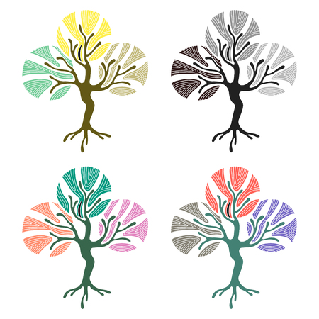 child's: Vector set of hand drawn illustrations, decorative ornamental stylized tree. Graphic illustrations isolated on the white background. Decorative artistic ornamental hand drawing silhouette.