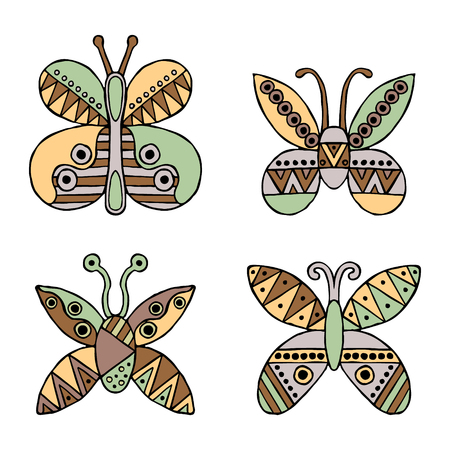 child's: Set of vector hand drawn decorative stylized childish butterflies. Doodle style, graphic illustration. Ornamental cute hand drawing in brown, green colors. Series of doodle, cartoon, sketch