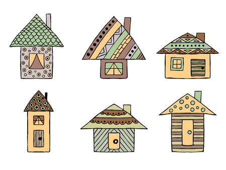 Set of vector hand drawn decorative stylized childish houses. Doodle style, graphic illustration. Ornamental cute hand drawing in brown, green colors. Series of doodle, cartoon, sketch illustrations.